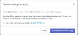 Shopify I understand create the app