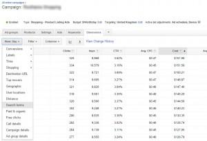 Google Adwords Dimension Search Terms
