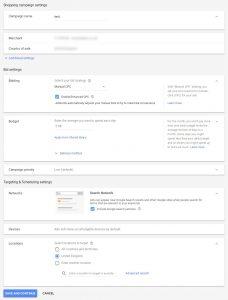 Google Shopping Campaign Settings