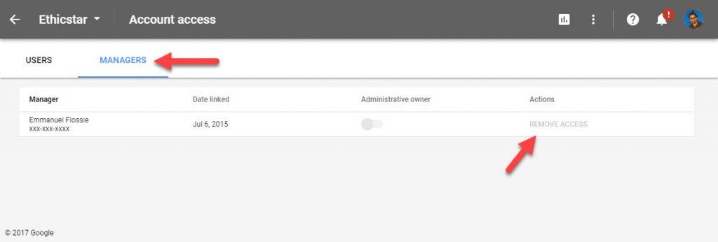 Google Adwords Accept Manger User