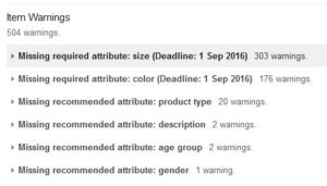 Google Merchant Item Warnings
