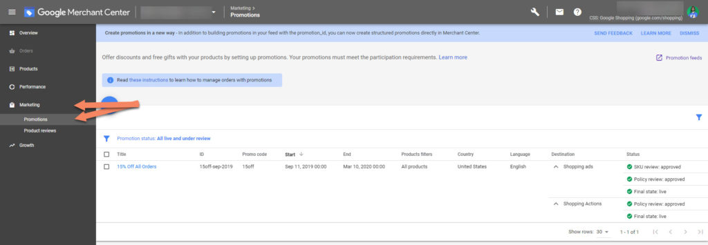 Google Merchant Center Marketing Promotions