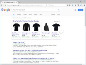 Google Shopping Web Search Results