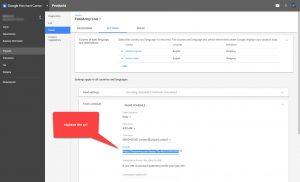 Google Merchant Center Edit Feed URL