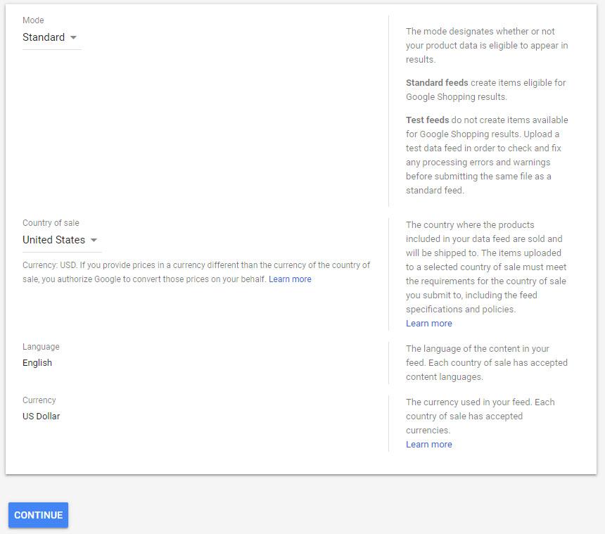 Google Merchant Center Promotion Feed Step 1