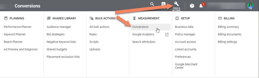Google Ads Conversions Panel