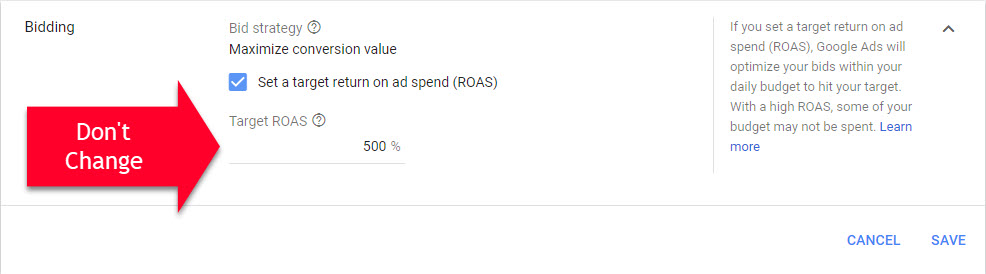 Google Ads Dont Change ROAS