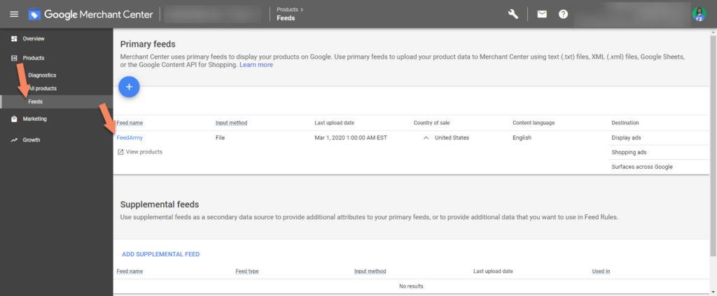 Google Merchant Center Feed Settings