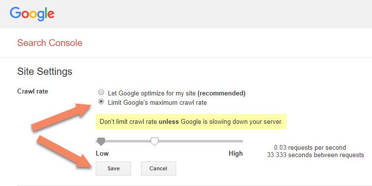 Limit Google's maximum crawl rate