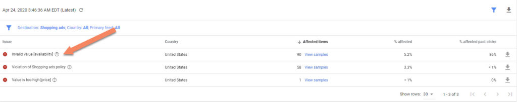 Google Merchant Center Invalid Value Availability