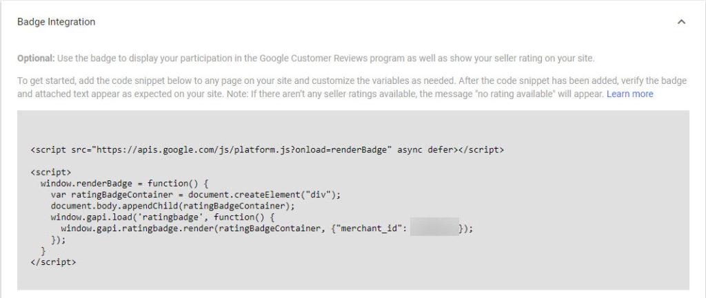 Google Merchant Center Copy Badge Integration