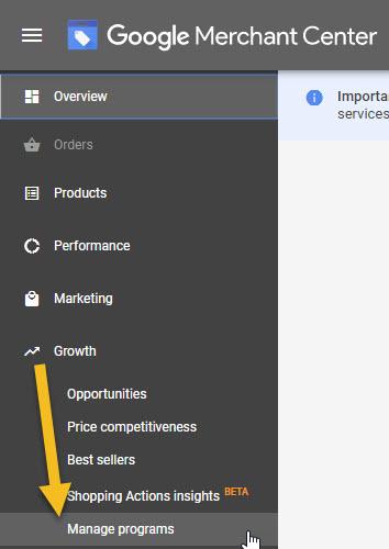 Google Merchant Center Manage Programs