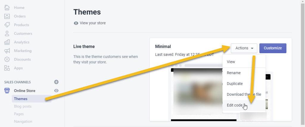 Shopify Edit Theme