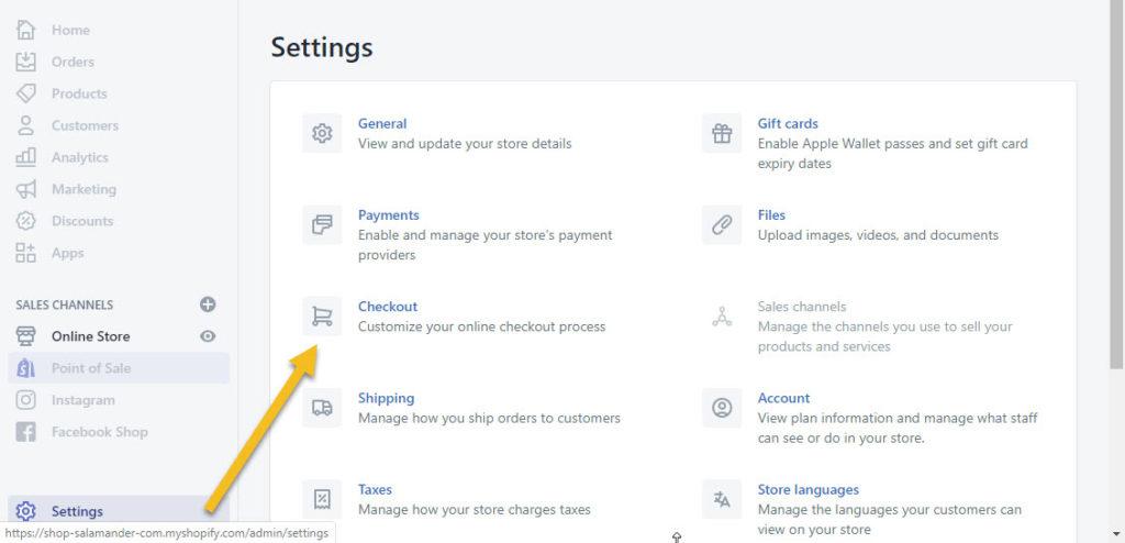 Shopify Settings Checkout