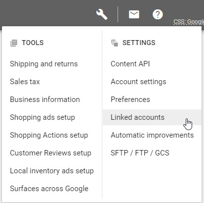 Google Merchant Center Account Linking