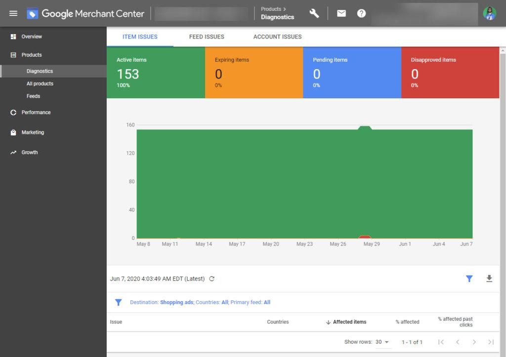 Google Merchant Center Standings