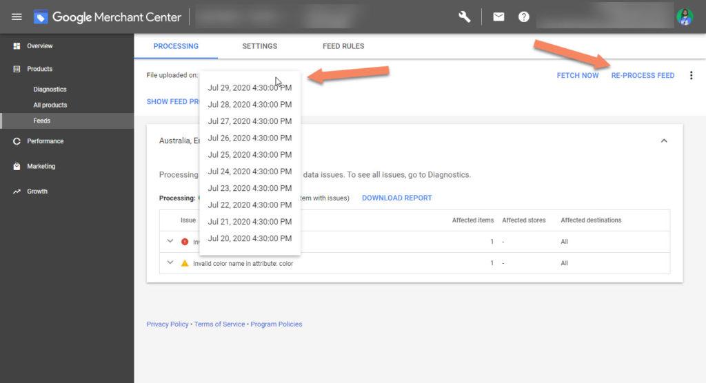 Google Merchant Center Reprocess Old Feed