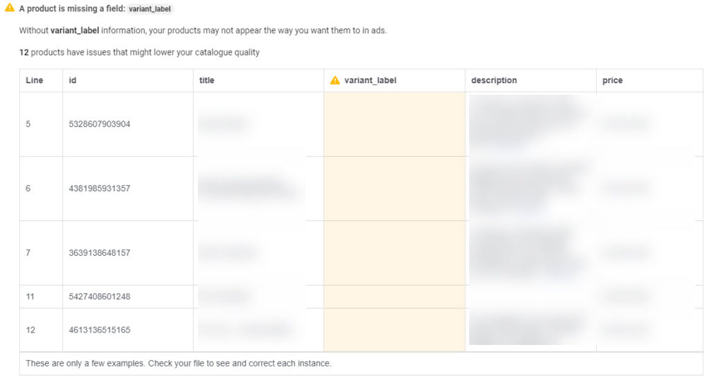 Facebook A product is missing a field: variant_label