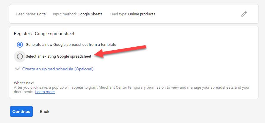 Google Merchant Center existing spreadsheet