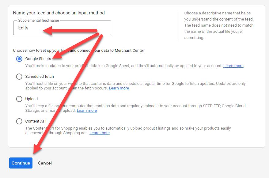 Google Merchant Center Add Google Sheets