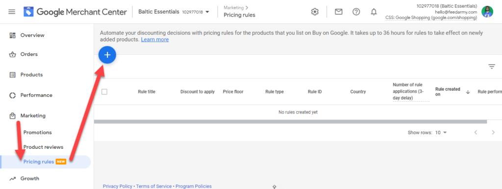 Google Merchant Center Add Pricing Rules