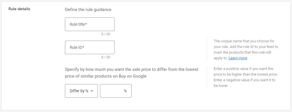 Google Merchant Center Pricing Rule Details
