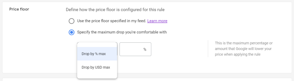 Google Merchant Center Pricing Rule Price Floor