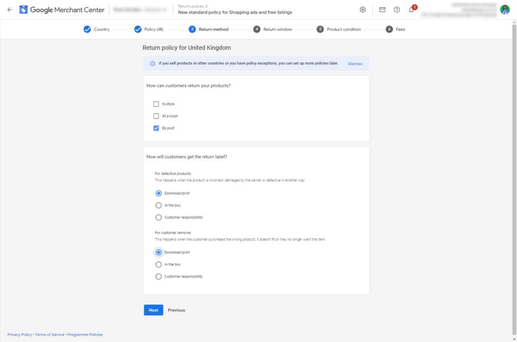 Google Merchant Center Return Policy Step 4