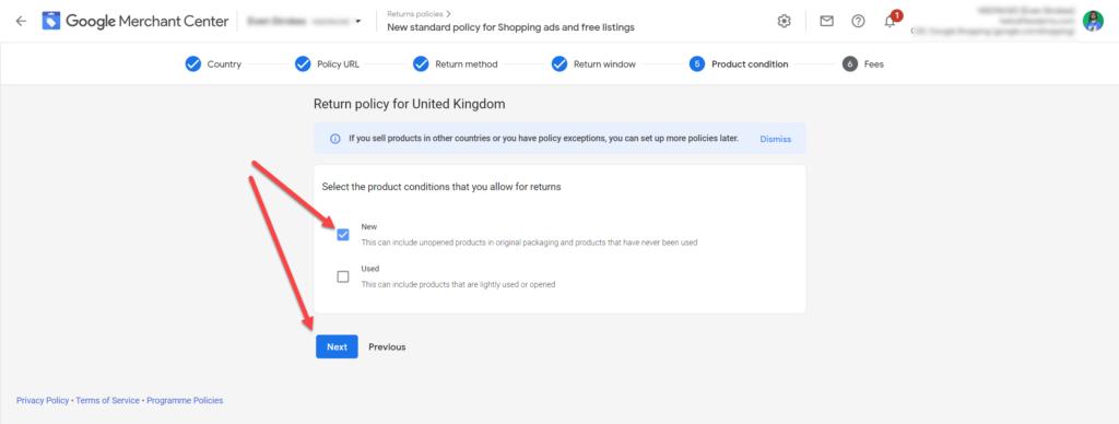 Google Merchant Center Return Policy Step 6