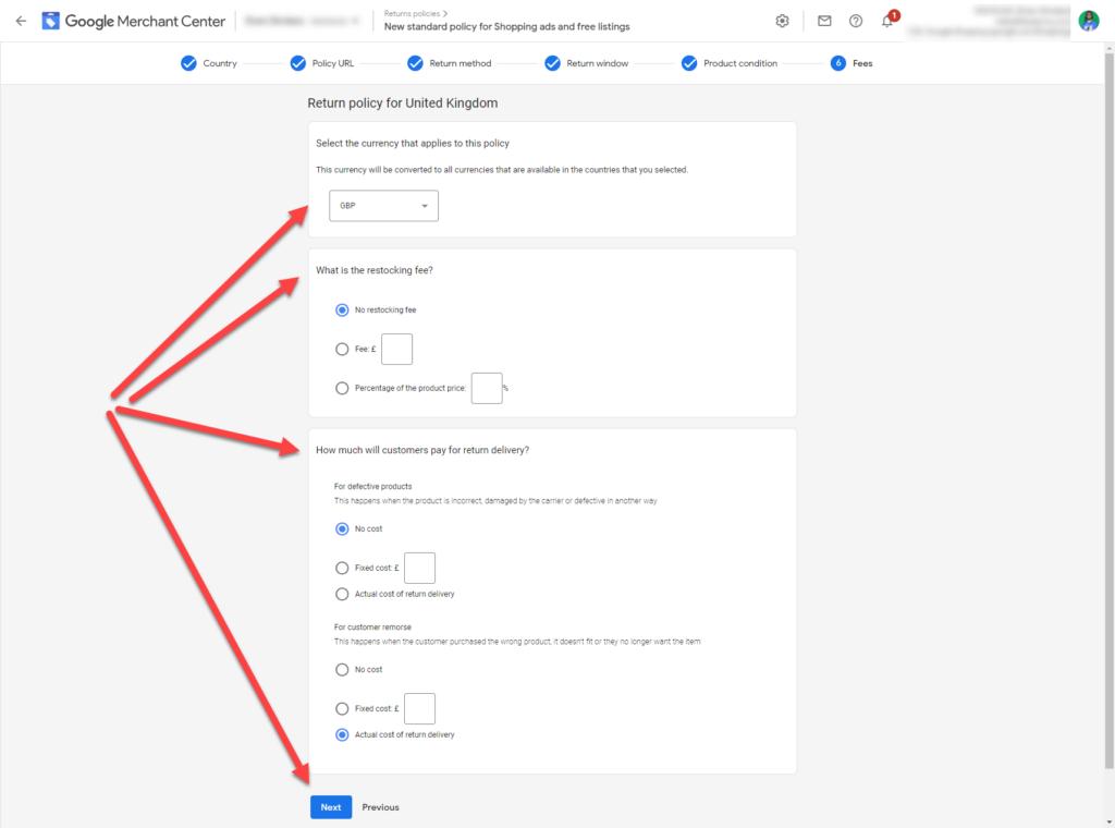 Google Merchant Center Return Policy Step 7