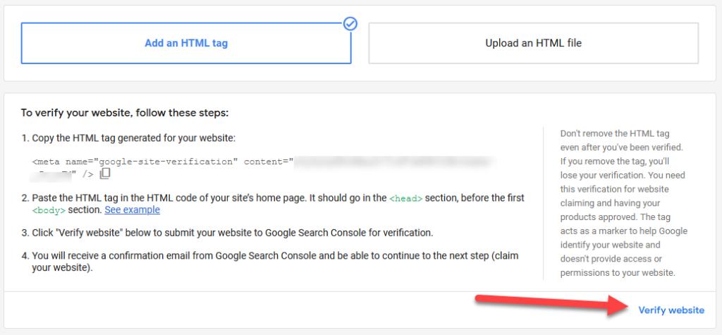 Google Merchant Center Verify Website