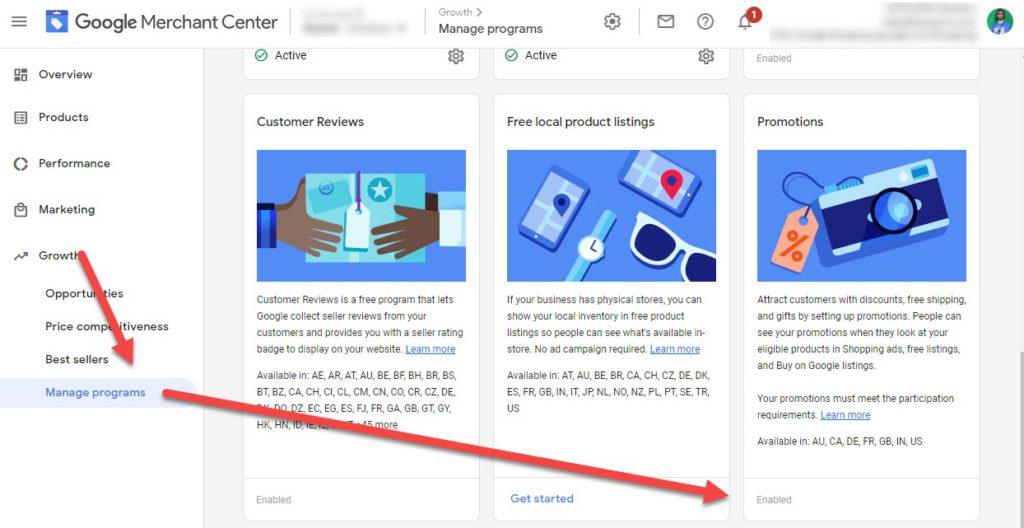 Enable Google Merchant Center Promotions
