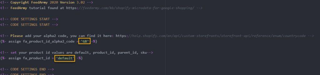 FeedArmy Edit Structured Data Config