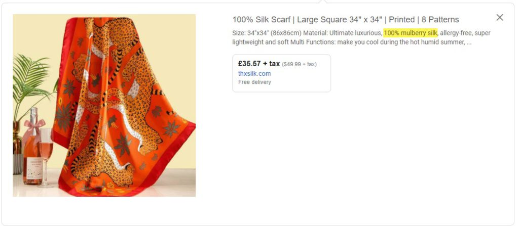 Google Shopping Description Material Focus