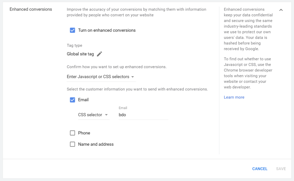 Google Ads Turn On Enhanced Conversions