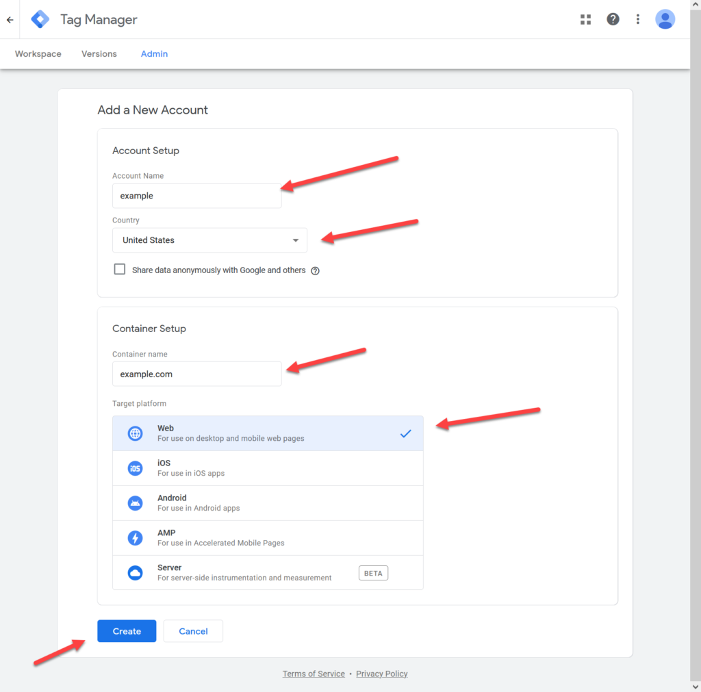 Create Account in Google Tag Manager