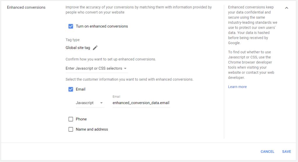 Google Ads Add Enhanced Conversions Javascript