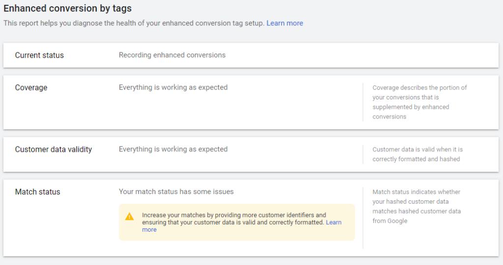 Google Ads Enhanced Conversions Match Status Issues