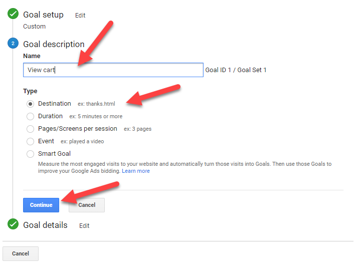 Google Analytics Create Goals