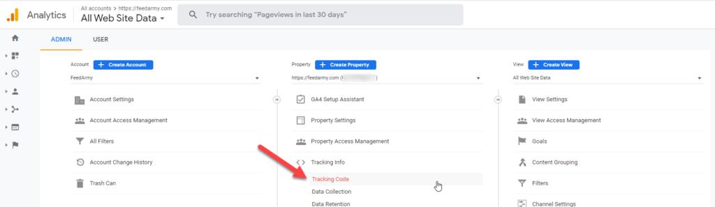 Google Analytics Tracking Info