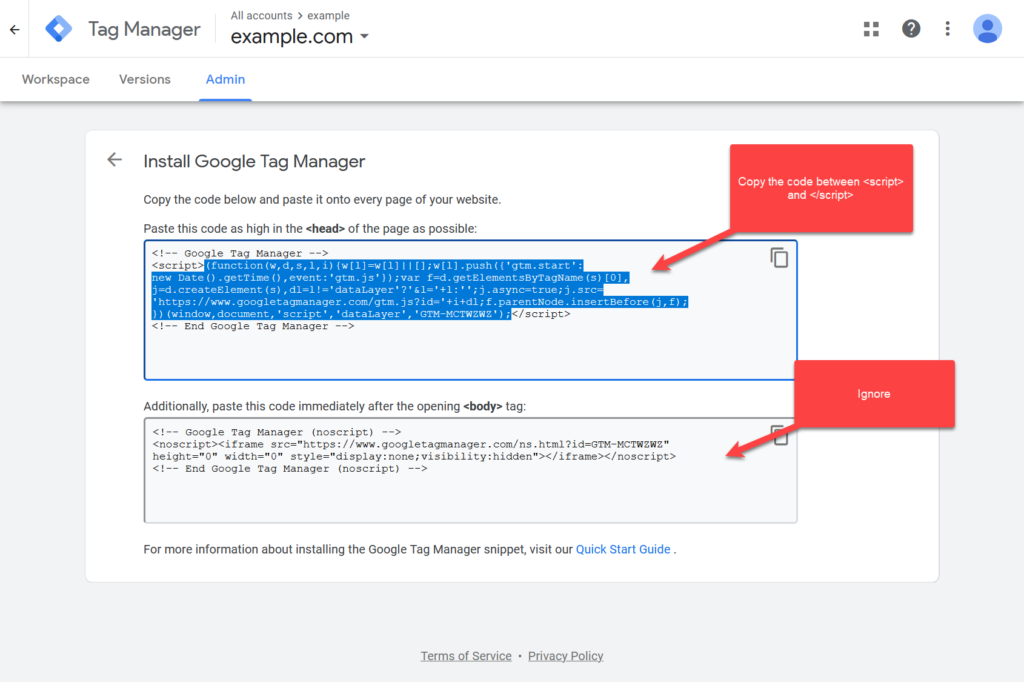 Google Tag Manager Code for Shopify