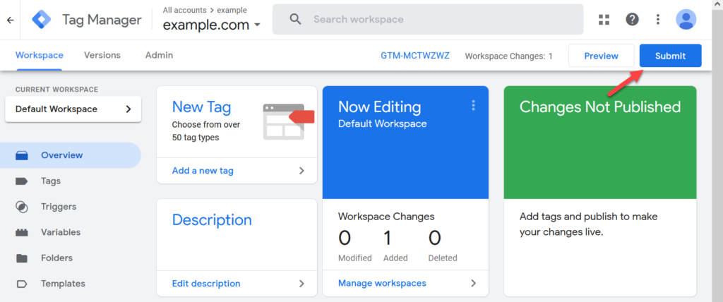 Submit Google Tag Manager