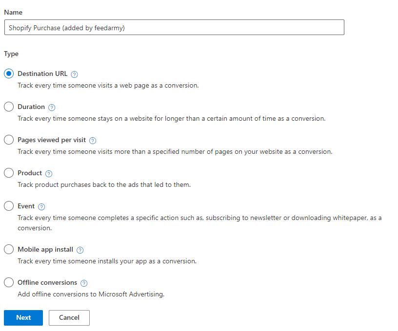 Microsoft Ads Conversion Type