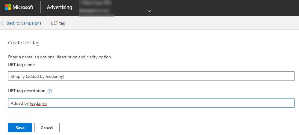 Microsoft Ads UET Tag name